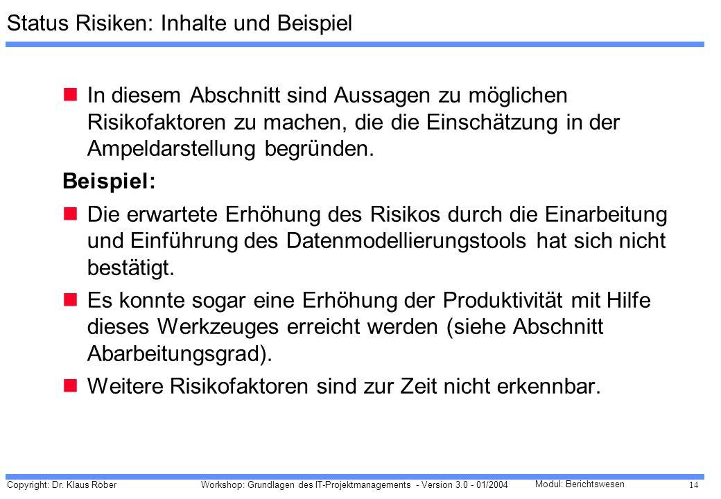 Copyright: Dr. Klaus Röber 14 Workshop: Grundlagen des IT-Projektmanagements - Version 3.0 - 01/2004 Modul: Berichtswesen Status Risiken: Inhalte und