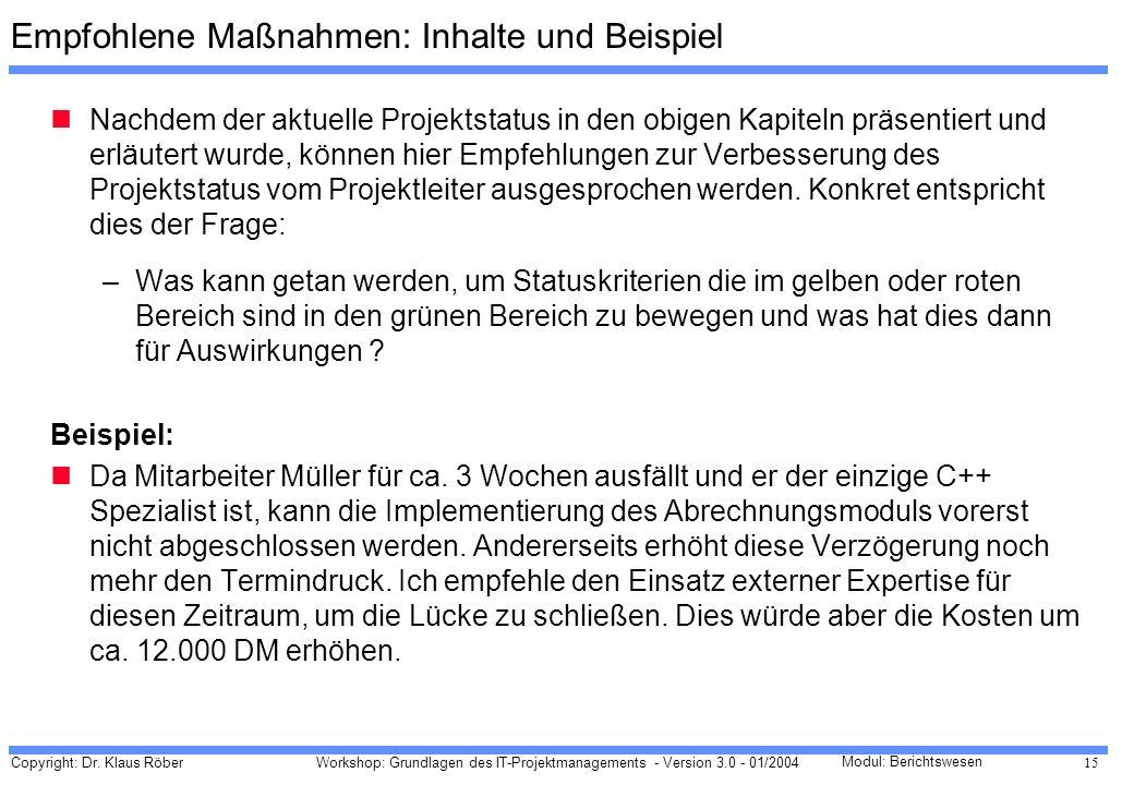 Copyright: Dr. Klaus Röber 15 Workshop: Grundlagen des IT-Projektmanagements - Version 3.0 - 01/2004 Modul: Berichtswesen Empfohlene Maßnahmen: Inhalt
