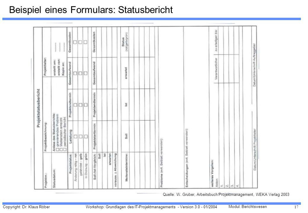 Copyright: Dr. Klaus Röber 17 Workshop: Grundlagen des IT-Projektmanagements - Version 3.0 - 01/2004 Modul: Berichtswesen Beispiel eines Formulars: St