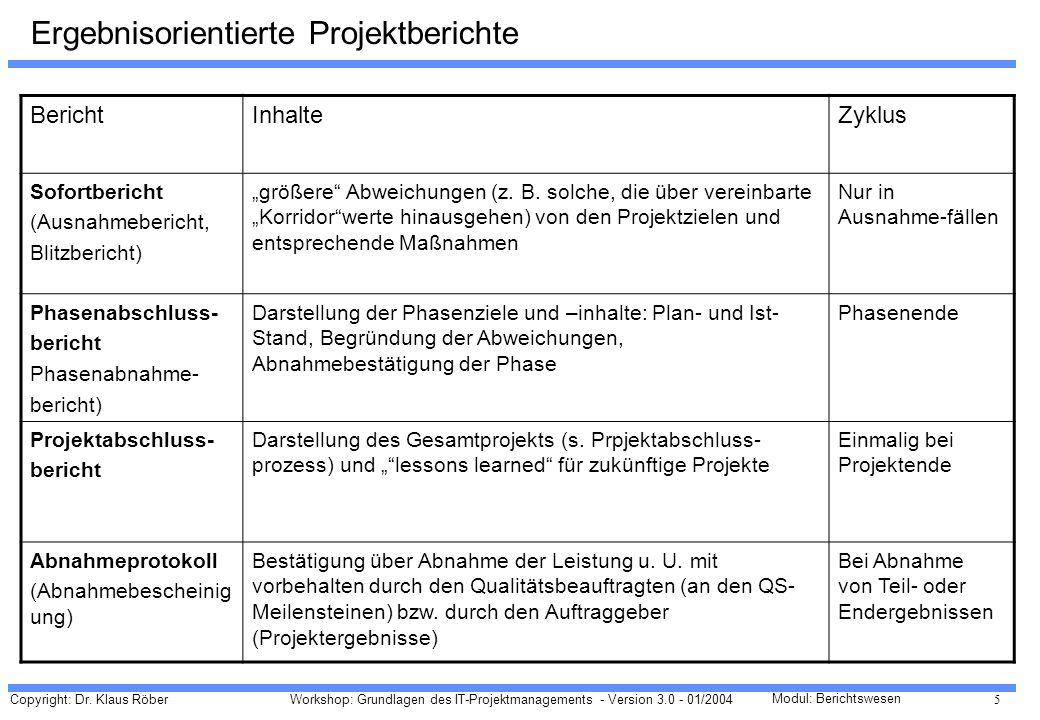 Copyright: Dr. Klaus Röber 5 Workshop: Grundlagen des IT-Projektmanagements - Version 3.0 - 01/2004 Modul: Berichtswesen Ergebnisorientierte Projektbe