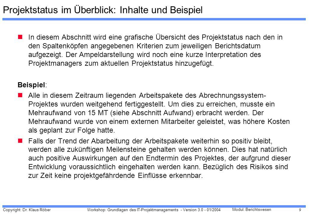Copyright: Dr. Klaus Röber 9 Workshop: Grundlagen des IT-Projektmanagements - Version 3.0 - 01/2004 Modul: Berichtswesen Projektstatus im Überblick: I
