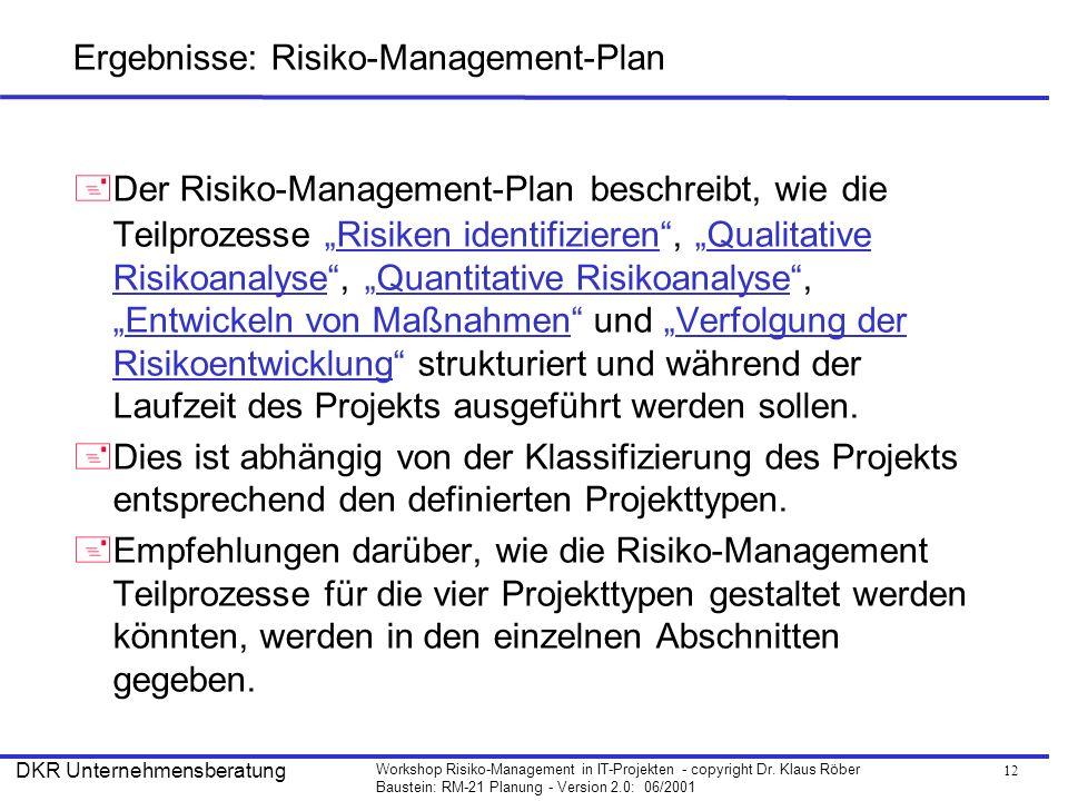 12 Workshop Risiko-Management in IT-Projekten - copyright Dr. Klaus Röber Baustein: RM-21 Planung - Version 2.0: 06/2001 DKR Unternehmensberatung Erge
