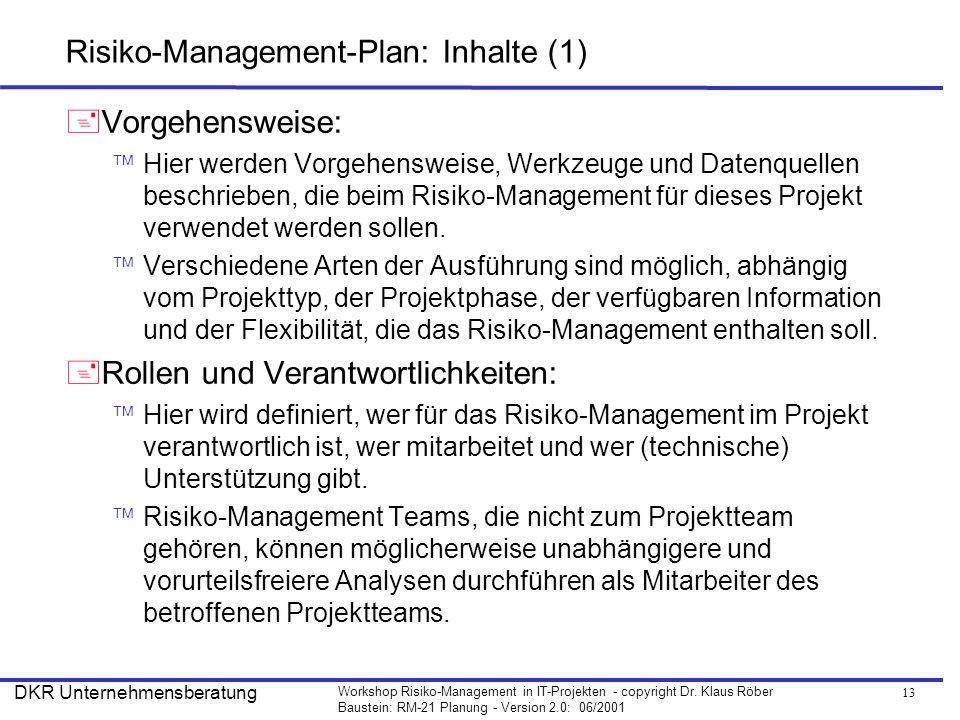 13 Workshop Risiko-Management in IT-Projekten - copyright Dr. Klaus Röber Baustein: RM-21 Planung - Version 2.0: 06/2001 DKR Unternehmensberatung Risi