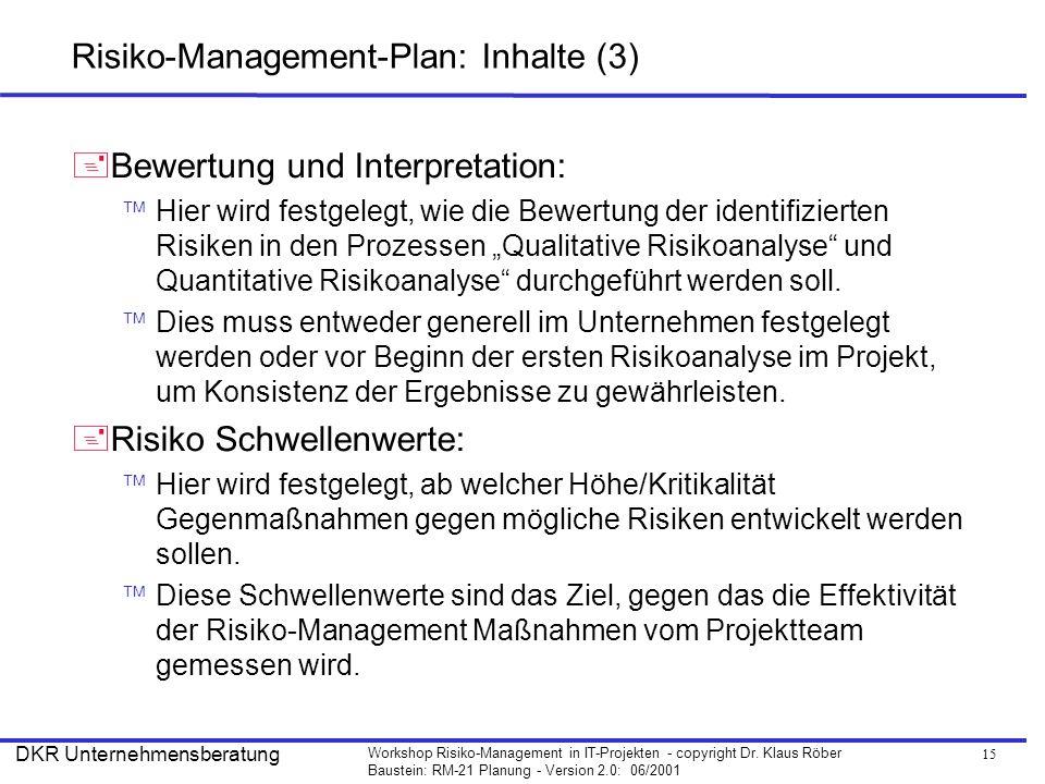 15 Workshop Risiko-Management in IT-Projekten - copyright Dr. Klaus Röber Baustein: RM-21 Planung - Version 2.0: 06/2001 DKR Unternehmensberatung Risi