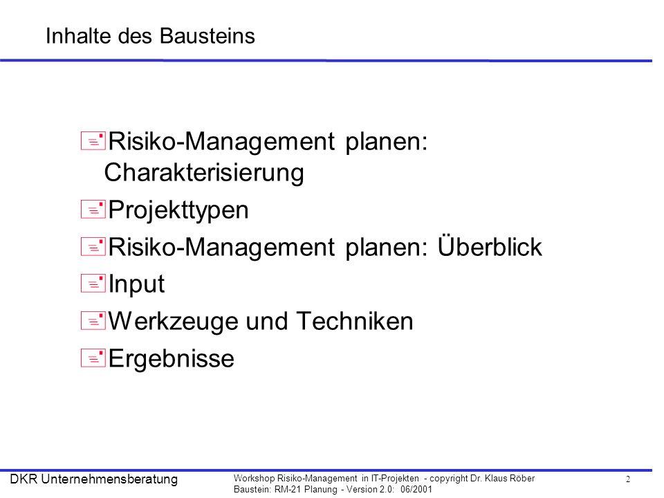 2 Workshop Risiko-Management in IT-Projekten - copyright Dr. Klaus Röber Baustein: RM-21 Planung - Version 2.0: 06/2001 DKR Unternehmensberatung Inhal