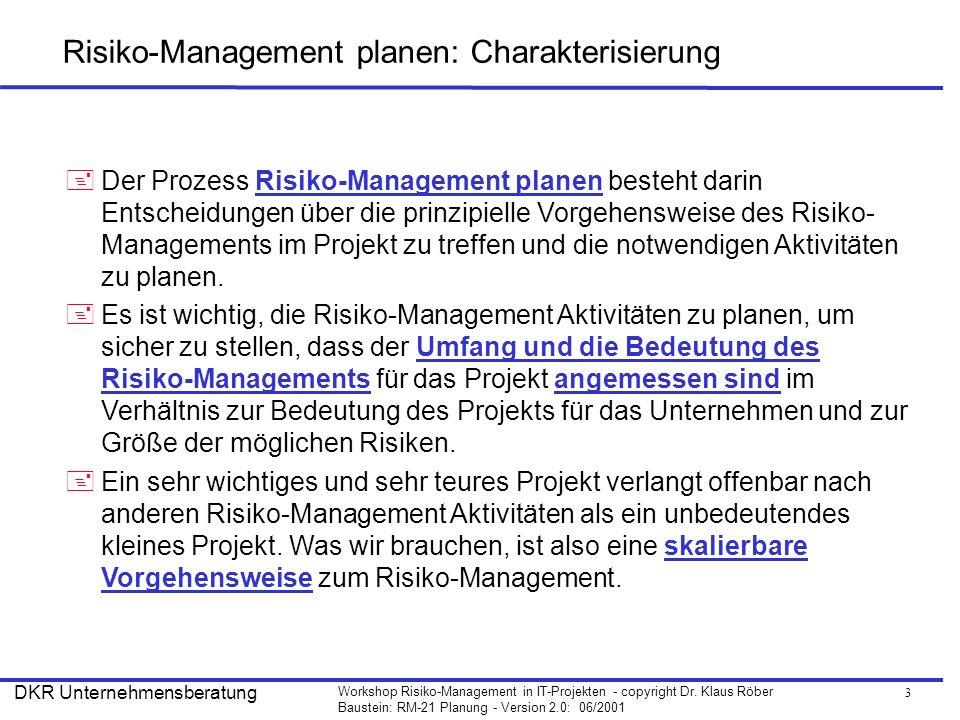 3 Workshop Risiko-Management in IT-Projekten - copyright Dr. Klaus Röber Baustein: RM-21 Planung - Version 2.0: 06/2001 DKR Unternehmensberatung Risik