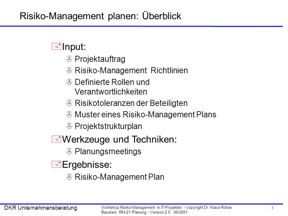 5 Workshop Risiko-Management in IT-Projekten - copyright Dr. Klaus Röber Baustein: RM-21 Planung - Version 2.0: 06/2001 DKR Unternehmensberatung Risik