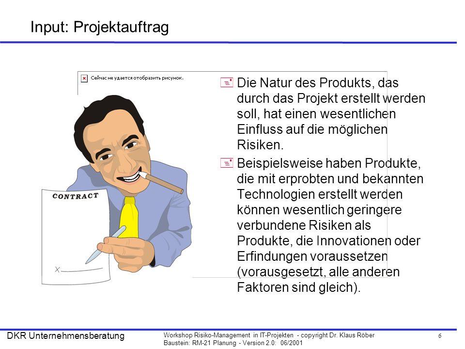 6 Workshop Risiko-Management in IT-Projekten - copyright Dr. Klaus Röber Baustein: RM-21 Planung - Version 2.0: 06/2001 DKR Unternehmensberatung Input