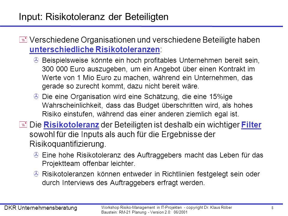 8 Workshop Risiko-Management in IT-Projekten - copyright Dr. Klaus Röber Baustein: RM-21 Planung - Version 2.0: 06/2001 DKR Unternehmensberatung Input