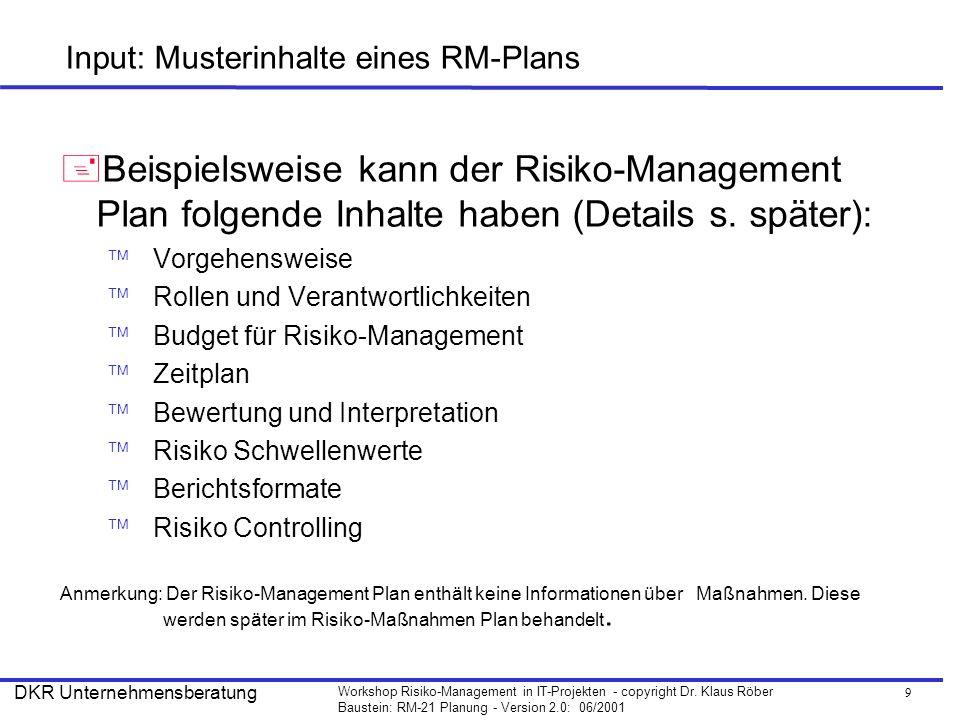 9 Workshop Risiko-Management in IT-Projekten - copyright Dr. Klaus Röber Baustein: RM-21 Planung - Version 2.0: 06/2001 DKR Unternehmensberatung Input