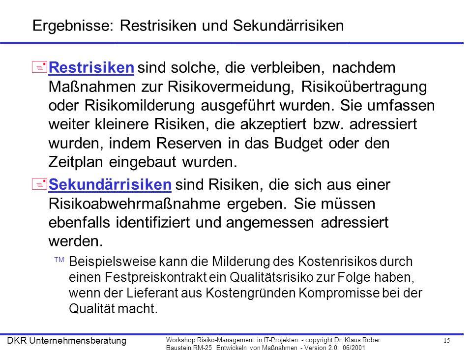 15 Workshop Risiko-Management in IT-Projekten - copyright Dr. Klaus Röber Baustein:RM-25 Entwickeln von Maßnahmen - Version 2.0: 06/2001 DKR Unternehm