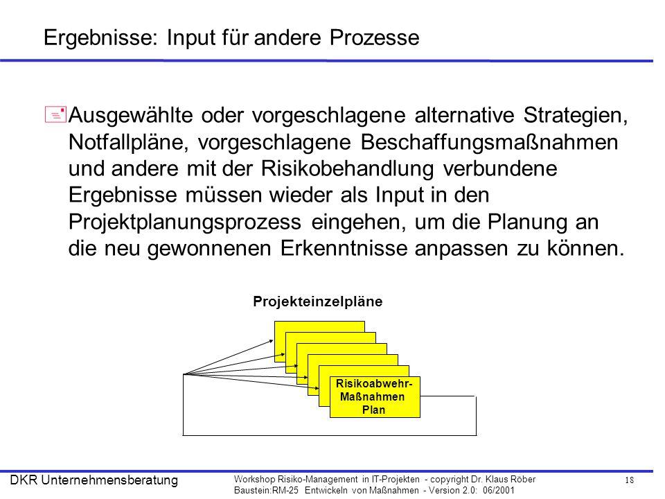 18 Workshop Risiko-Management in IT-Projekten - copyright Dr. Klaus Röber Baustein:RM-25 Entwickeln von Maßnahmen - Version 2.0: 06/2001 DKR Unternehm