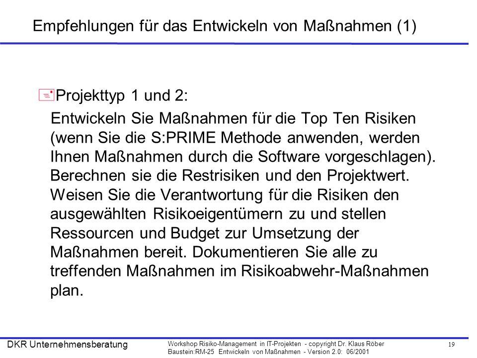 19 Workshop Risiko-Management in IT-Projekten - copyright Dr. Klaus Röber Baustein:RM-25 Entwickeln von Maßnahmen - Version 2.0: 06/2001 DKR Unternehm