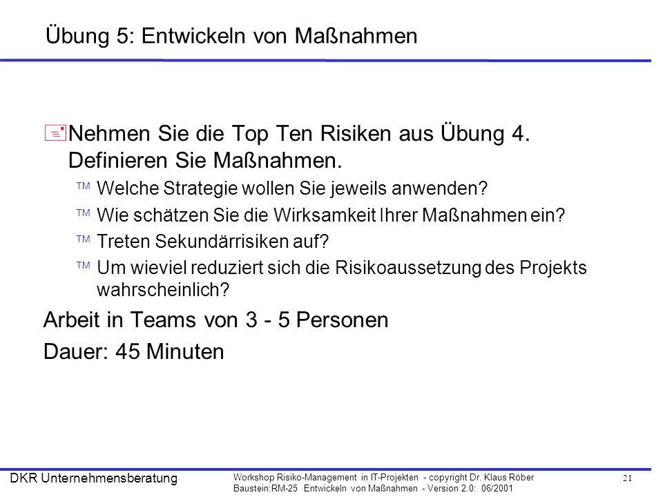 21 Workshop Risiko-Management in IT-Projekten - copyright Dr. Klaus Röber Baustein:RM-25 Entwickeln von Maßnahmen - Version 2.0: 06/2001 DKR Unternehm