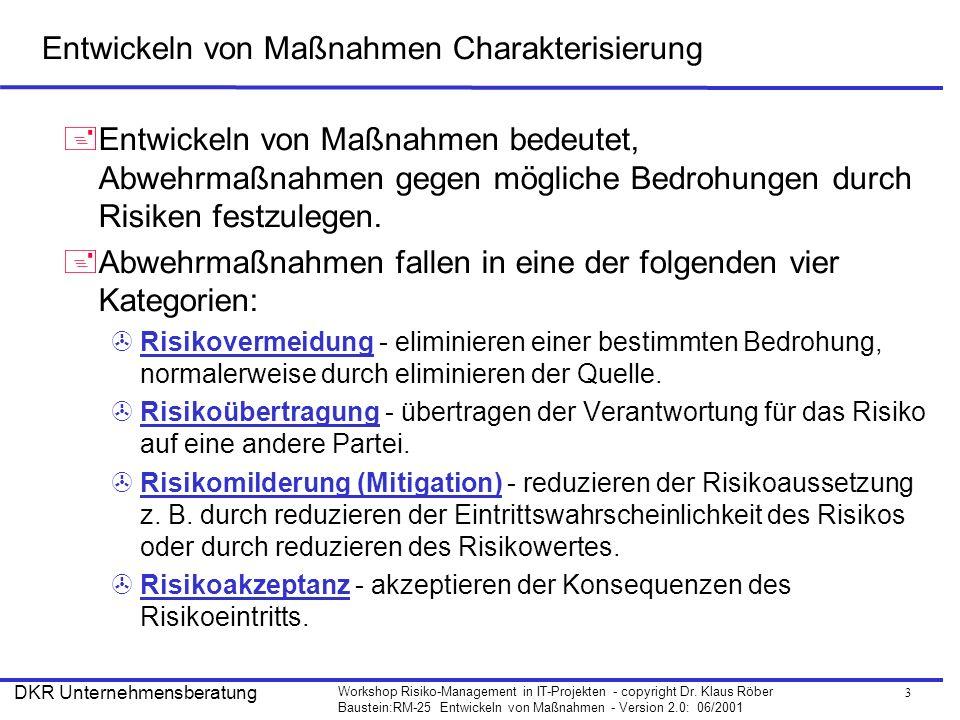 3 Workshop Risiko-Management in IT-Projekten - copyright Dr. Klaus Röber Baustein:RM-25 Entwickeln von Maßnahmen - Version 2.0: 06/2001 DKR Unternehme