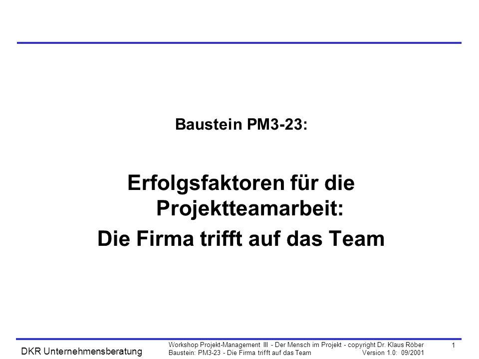 2 Workshop Projekt-Management III - Der Mensch im Projekt - copyright Dr.