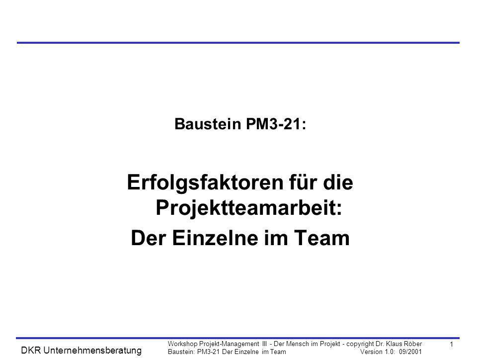 1 Workshop Projekt-Management III - Der Mensch im Projekt - copyright Dr. Klaus Röber Baustein: PM3-21 Der Einzelne im Team Version 1.0: 09/2001 DKR U