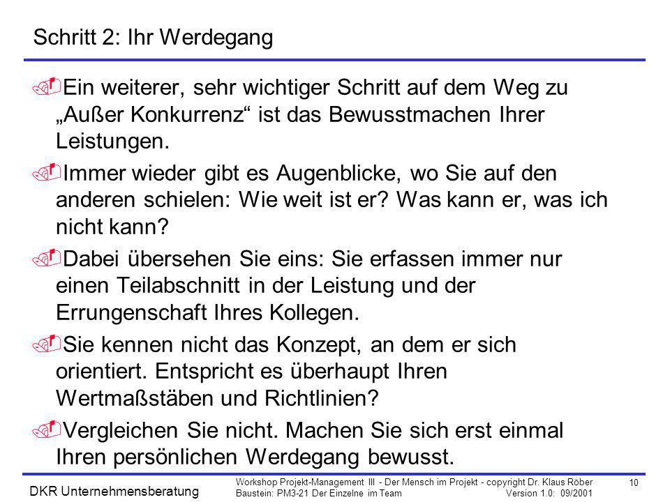 10 Workshop Projekt-Management III - Der Mensch im Projekt - copyright Dr. Klaus Röber Baustein: PM3-21 Der Einzelne im Team Version 1.0: 09/2001 DKR