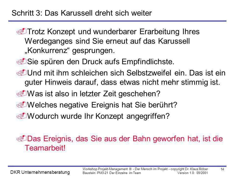 14 Workshop Projekt-Management III - Der Mensch im Projekt - copyright Dr. Klaus Röber Baustein: PM3-21 Der Einzelne im Team Version 1.0: 09/2001 DKR