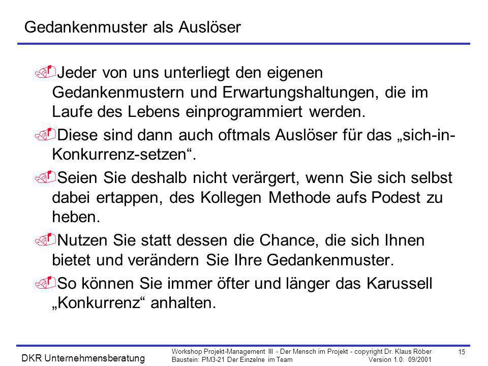 15 Workshop Projekt-Management III - Der Mensch im Projekt - copyright Dr. Klaus Röber Baustein: PM3-21 Der Einzelne im Team Version 1.0: 09/2001 DKR