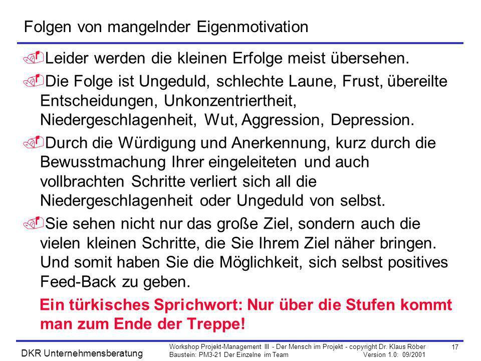 17 Workshop Projekt-Management III - Der Mensch im Projekt - copyright Dr. Klaus Röber Baustein: PM3-21 Der Einzelne im Team Version 1.0: 09/2001 DKR