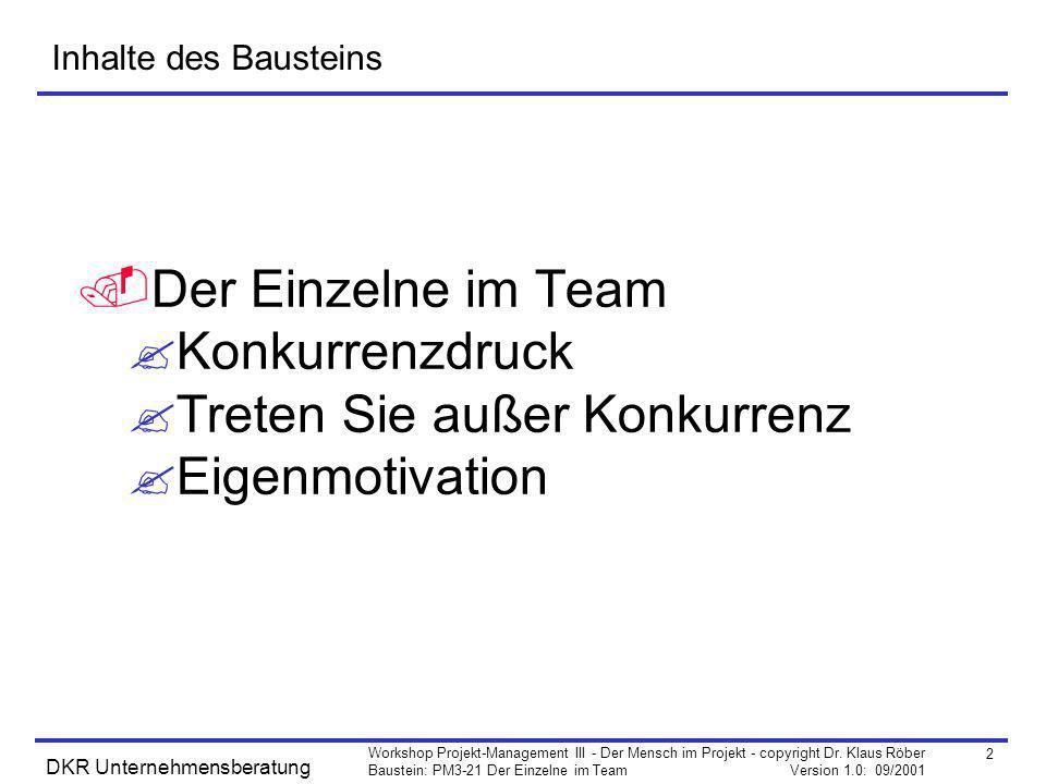 2 Workshop Projekt-Management III - Der Mensch im Projekt - copyright Dr. Klaus Röber Baustein: PM3-21 Der Einzelne im Team Version 1.0: 09/2001 DKR U
