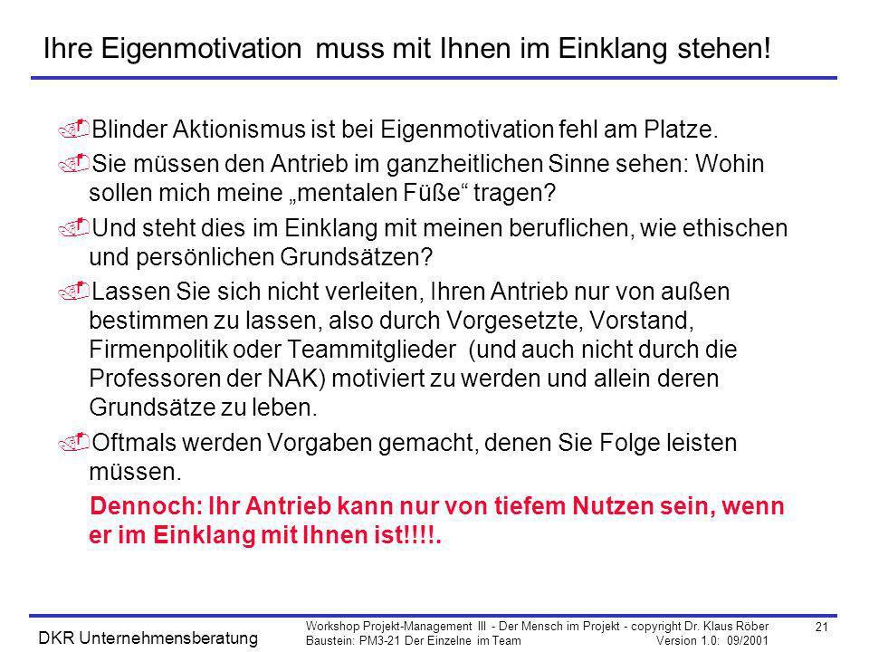 21 Workshop Projekt-Management III - Der Mensch im Projekt - copyright Dr. Klaus Röber Baustein: PM3-21 Der Einzelne im Team Version 1.0: 09/2001 DKR