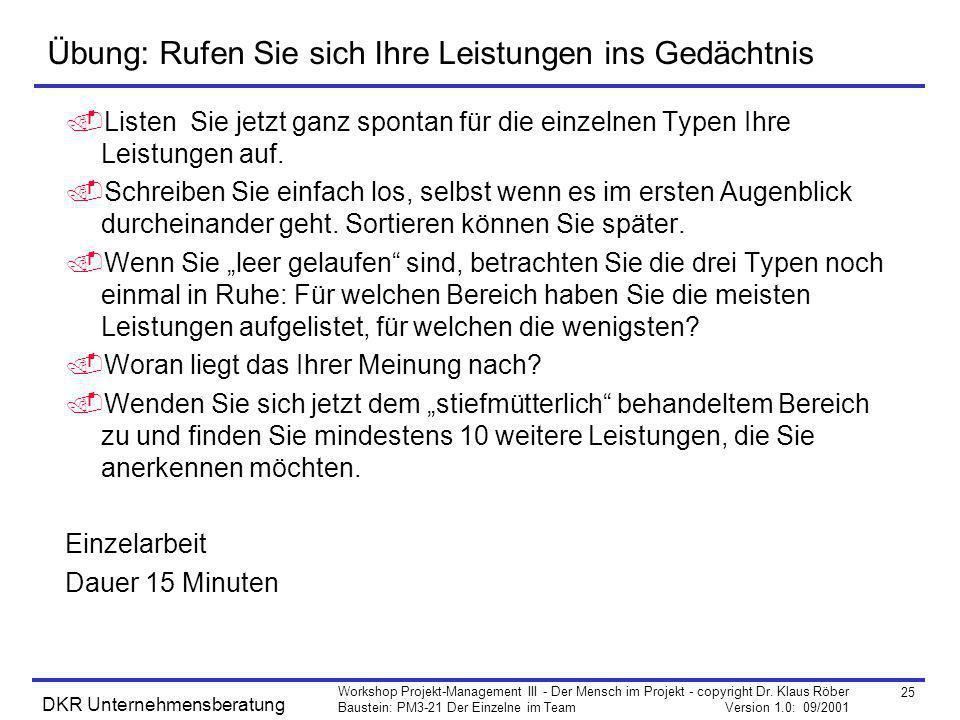 25 Workshop Projekt-Management III - Der Mensch im Projekt - copyright Dr. Klaus Röber Baustein: PM3-21 Der Einzelne im Team Version 1.0: 09/2001 DKR