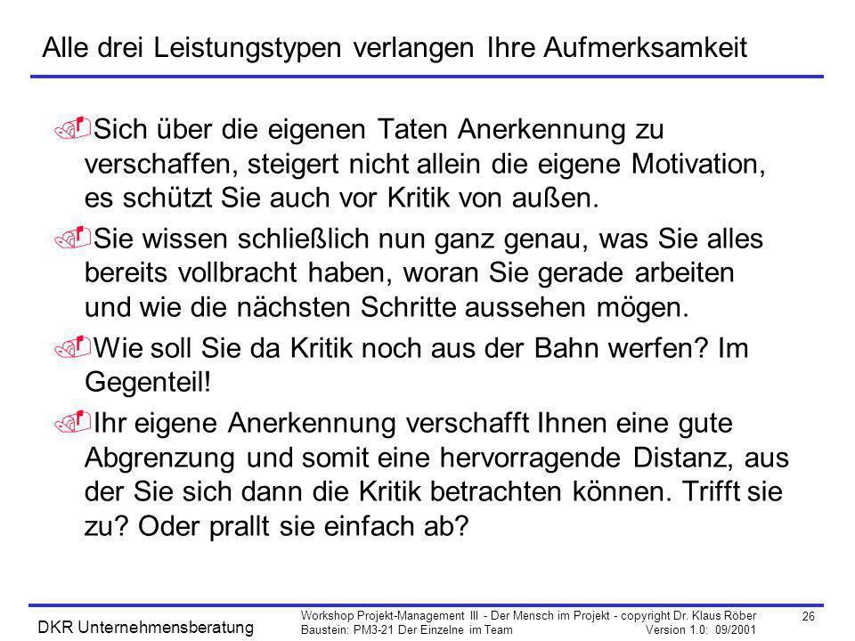 26 Workshop Projekt-Management III - Der Mensch im Projekt - copyright Dr. Klaus Röber Baustein: PM3-21 Der Einzelne im Team Version 1.0: 09/2001 DKR