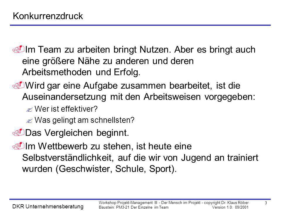 3 Workshop Projekt-Management III - Der Mensch im Projekt - copyright Dr. Klaus Röber Baustein: PM3-21 Der Einzelne im Team Version 1.0: 09/2001 DKR U