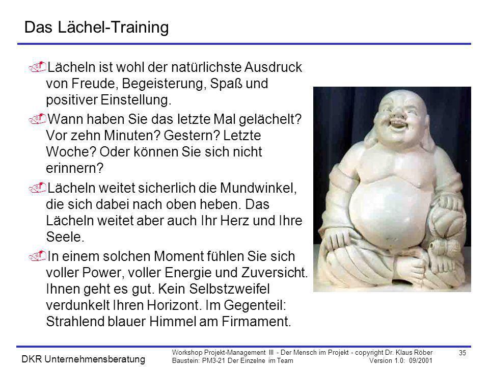 35 Workshop Projekt-Management III - Der Mensch im Projekt - copyright Dr. Klaus Röber Baustein: PM3-21 Der Einzelne im Team Version 1.0: 09/2001 DKR