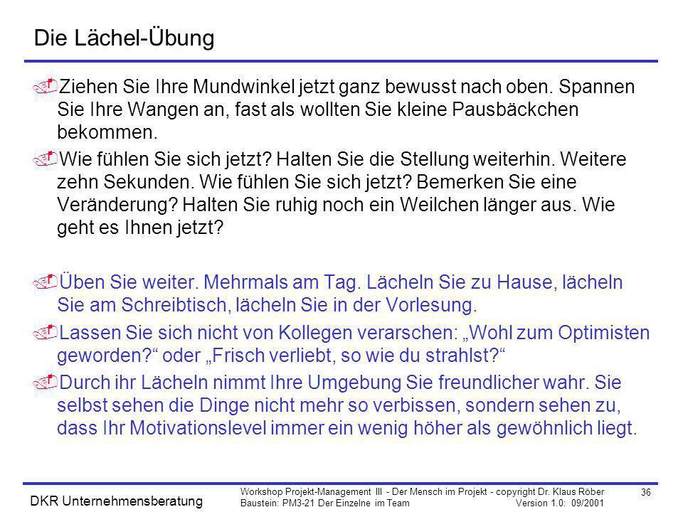 36 Workshop Projekt-Management III - Der Mensch im Projekt - copyright Dr. Klaus Röber Baustein: PM3-21 Der Einzelne im Team Version 1.0: 09/2001 DKR
