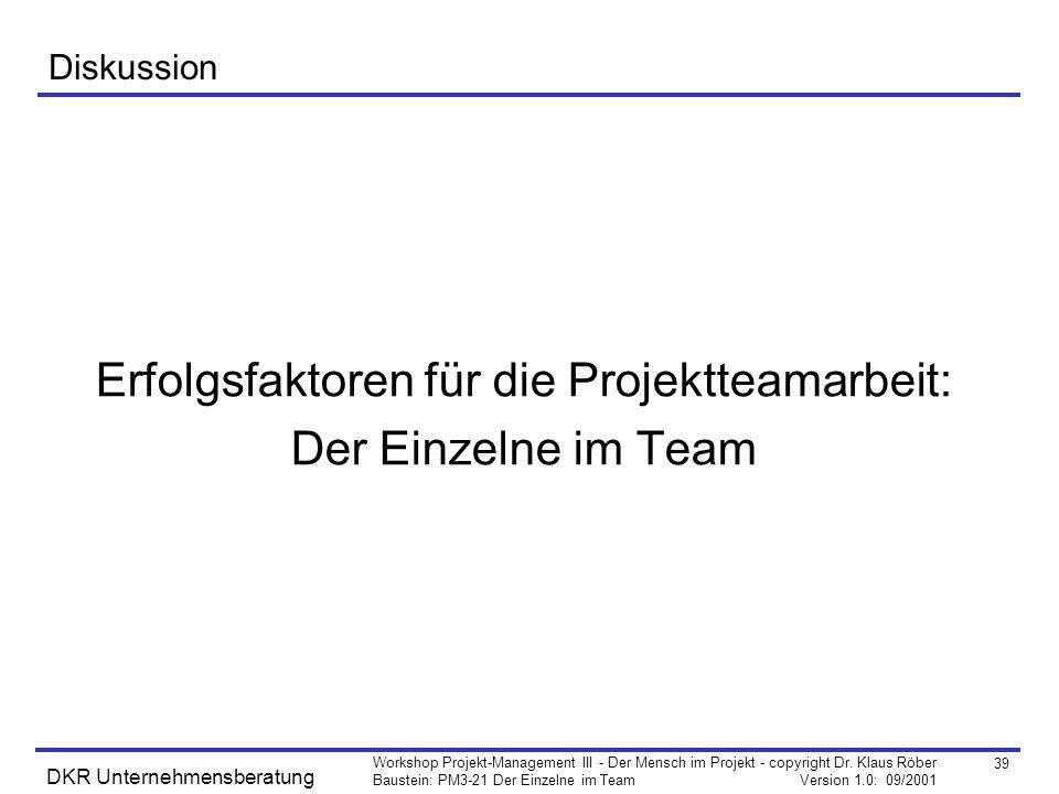 39 Workshop Projekt-Management III - Der Mensch im Projekt - copyright Dr. Klaus Röber Baustein: PM3-21 Der Einzelne im Team Version 1.0: 09/2001 DKR