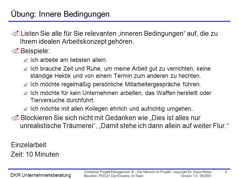 8 Workshop Projekt-Management III - Der Mensch im Projekt - copyright Dr. Klaus Röber Baustein: PM3-21 Der Einzelne im Team Version 1.0: 09/2001 DKR U