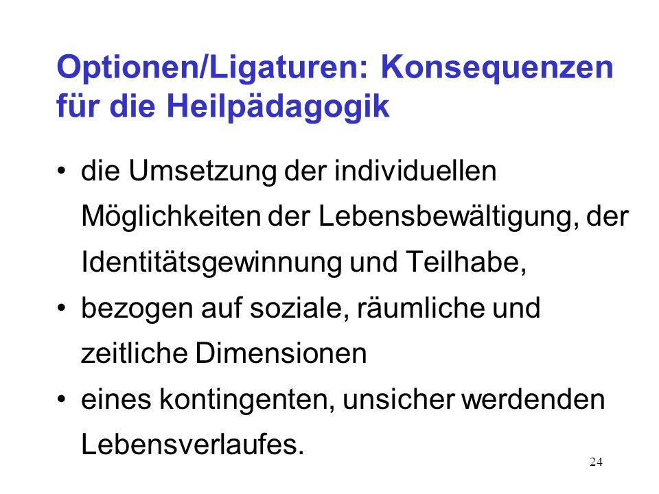 24 Optionen/Ligaturen: Konsequenzen für die Heilpädagogik die Umsetzung der individuellen Möglichkeiten der Lebensbewältigung, der Identitätsgewinnung