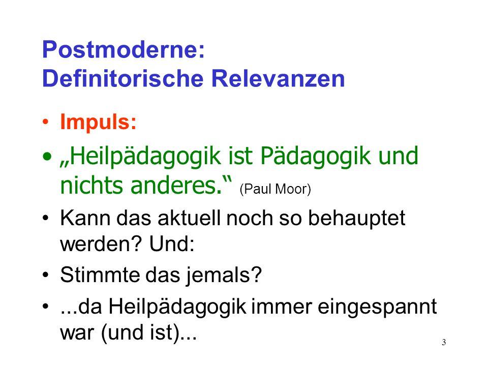 3 Postmoderne: Definitorische Relevanzen Impuls: Heilpädagogik ist Pädagogik und nichts anderes. (Paul Moor) Kann das aktuell noch so behauptet werden