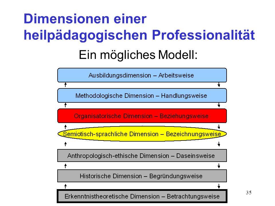 35 Dimensionen einer heilpädagogischen Professionalität Ein mögliches Modell: