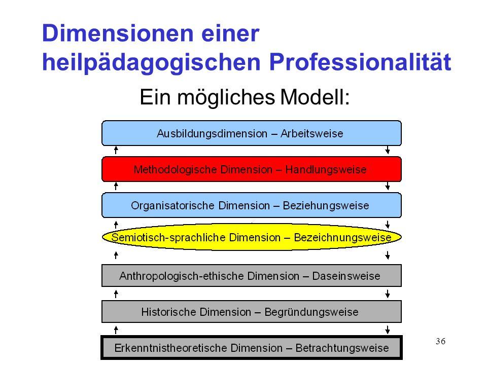 36 Dimensionen einer heilpädagogischen Professionalität Ein mögliches Modell:
