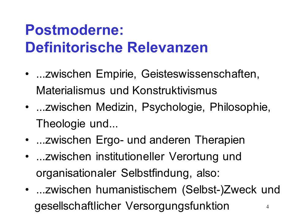 4 Postmoderne: Definitorische Relevanzen...zwischen Empirie, Geisteswissenschaften, Materialismus und Konstruktivismus...zwischen Medizin, Psychologie
