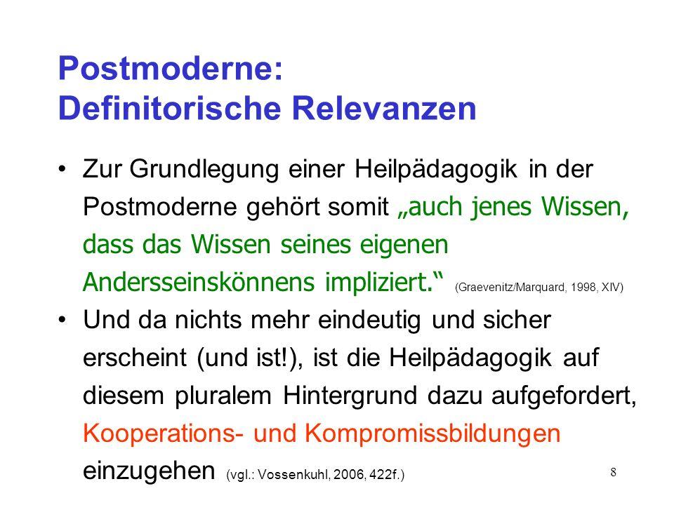 8 Postmoderne: Definitorische Relevanzen Zur Grundlegung einer Heilpädagogik in der Postmoderne gehört somit auch jenes Wissen, dass das Wissen seines