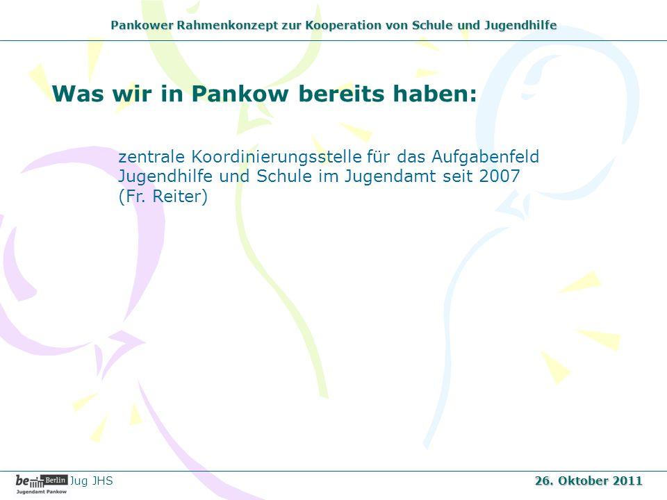 Pankower Rahmenkonzept zur Kooperation von Schule und Jugendhilfe Was wir in Pankow bereits haben: zentrale Koordinierungsstelle für das Aufgabenfeld