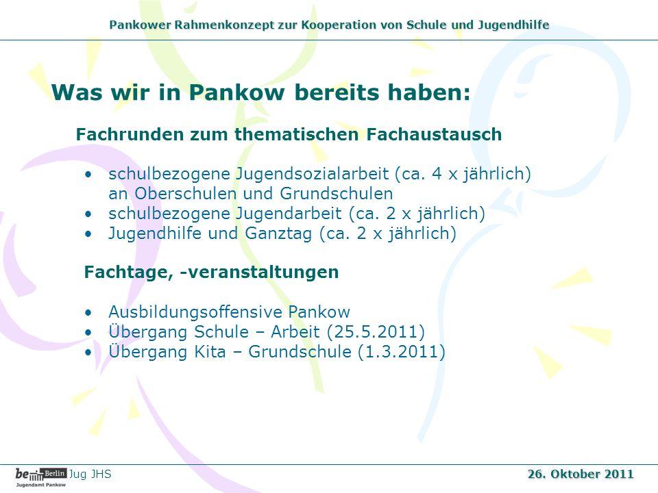 Pankower Rahmenkonzept zur Kooperation von Schule und Jugendhilfe Was wir in Pankow bereits haben: Fachrunden zum thematischen Fachaustausch schulbezo