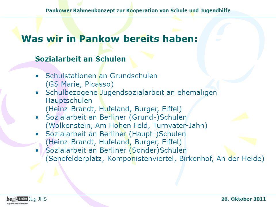 Pankower Rahmenkonzept zur Kooperation von Schule und Jugendhilfe Was wir in Pankow bereits haben: Sozialarbeit an Schulen Schulstationen an Grundschu