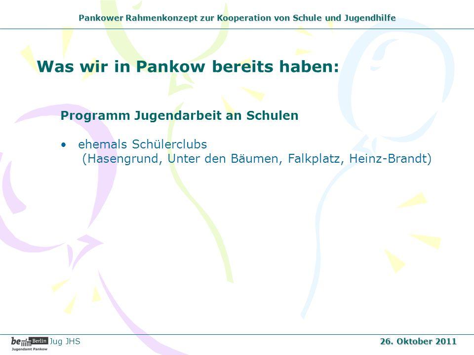 Pankower Rahmenkonzept zur Kooperation von Schule und Jugendhilfe Was wir in Pankow bereits haben: Programm Jugendarbeit an Schulen ehemals Schülerclu