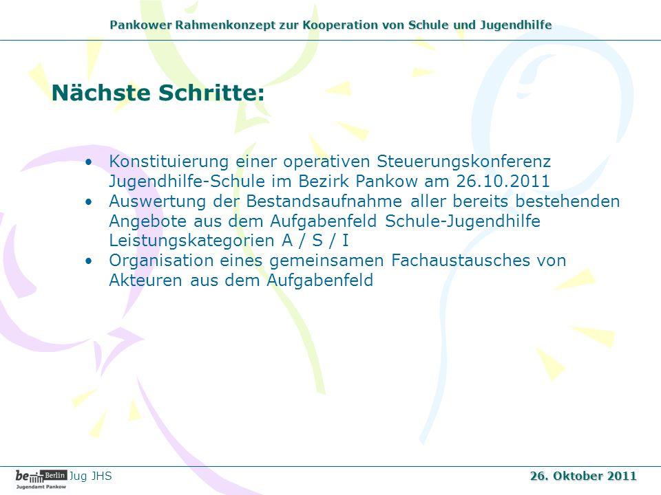 Pankower Rahmenkonzept zur Kooperation von Schule und Jugendhilfe Nächste Schritte: Konstituierung einer operativen Steuerungskonferenz Jugendhilfe-Sc