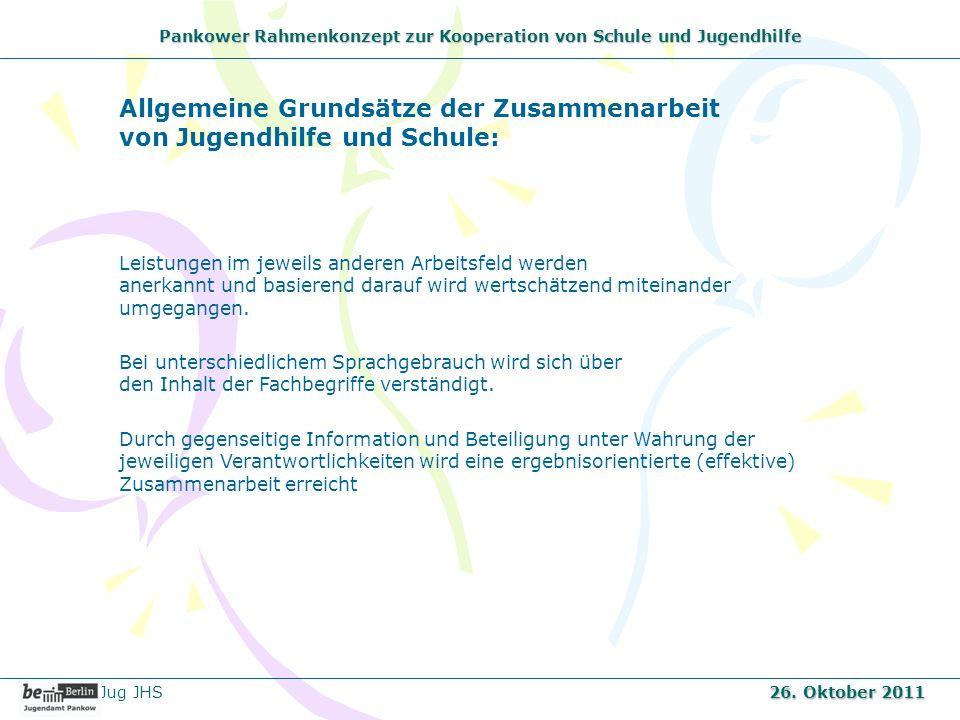 Pankower Rahmenkonzept zur Kooperation von Schule und Jugendhilfe Jug JHS 26. Oktober 2011 Leistungen im jeweils anderen Arbeitsfeld werden anerkannt