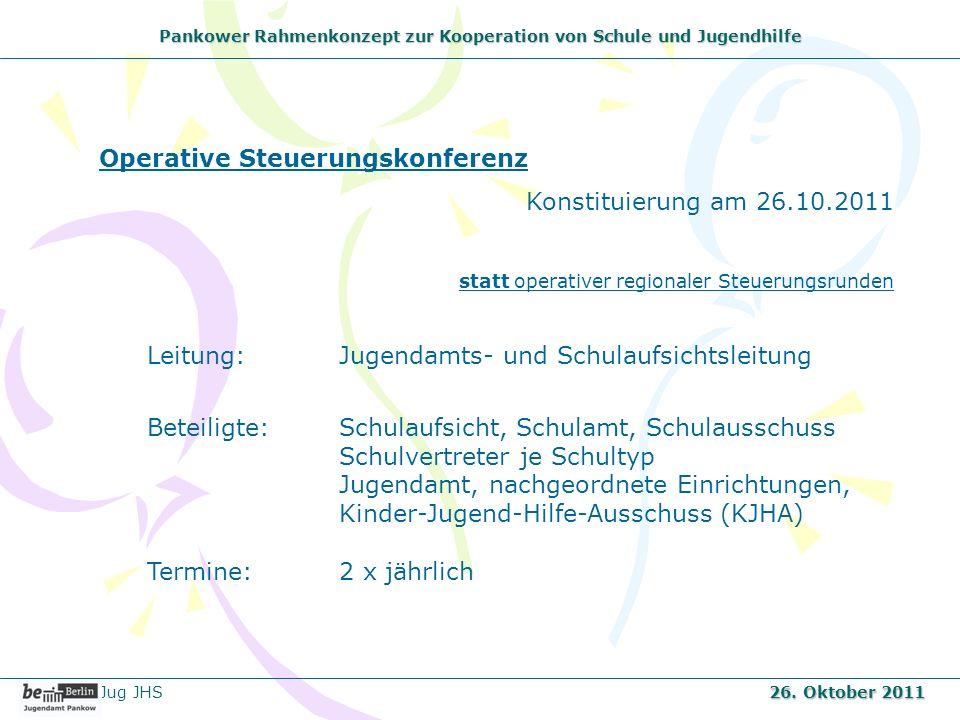 Pankower Rahmenkonzept zur Kooperation von Schule und Jugendhilfe Operative Steuerungskonferenz Konstituierung am 26.10.2011 statt operativer regional