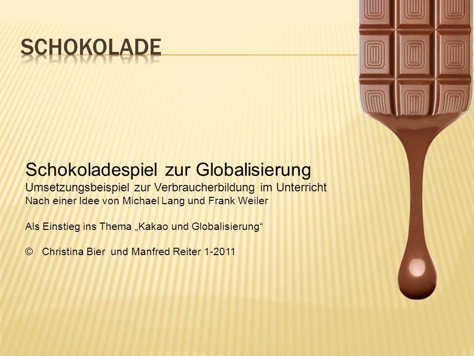 Es werden 5 verschiedene Gruppen gebildet Kakaobauern Kakaohändler Schokoladenhersteller Lieferanten von Milch, Zucker, Papier Händler