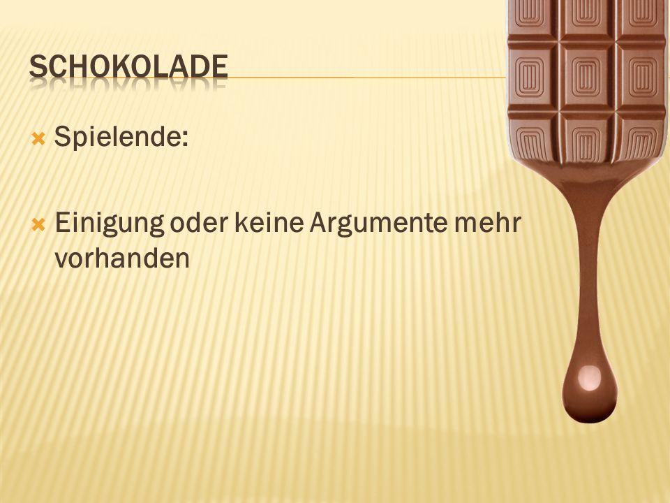 Lösung in der Realität: Kakaobauer: 1 Stück Kakaohändler:3 Stücke Lieferant:2 Stücke Schokoladenhersteller:8 Stücke Händler:6 Stücke