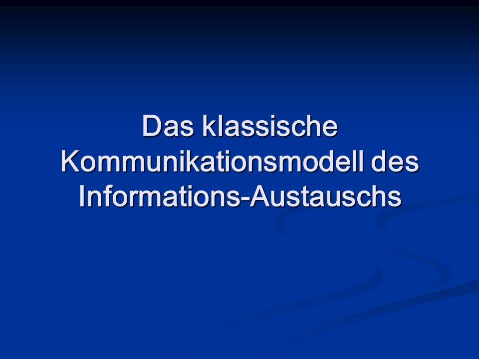 Das klassische Kommunikationsmodell des Informations-Austauschs